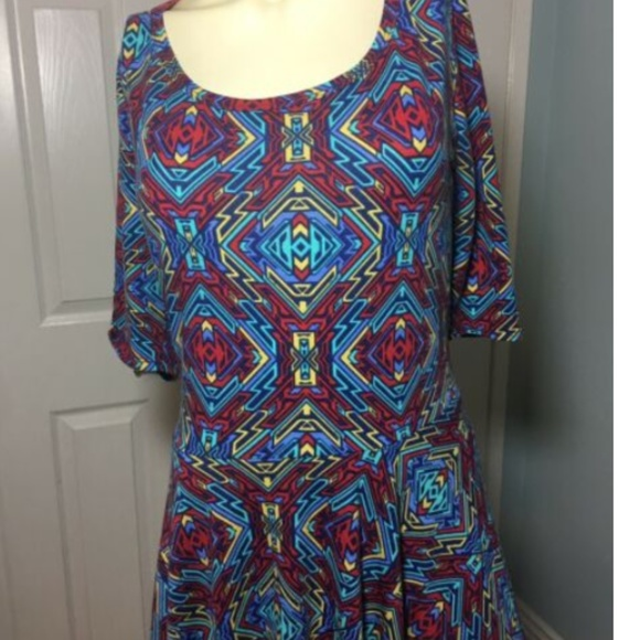LuLaRoe Dresses & Skirts - LulaRoe Nicole Dress XL (18-20) R, Blu, Ylw Geomet